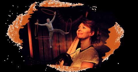 Montage montrant Isabelle Olivier et sa harpe et Sylavin Julien et ses cerceaux à l'arrière plan