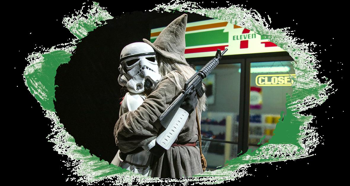 Gandalff (Le seigneur des anneaux, JRR Tolkien) serre dans ses bras un stormtrooper (Star Wars, George Lucas)